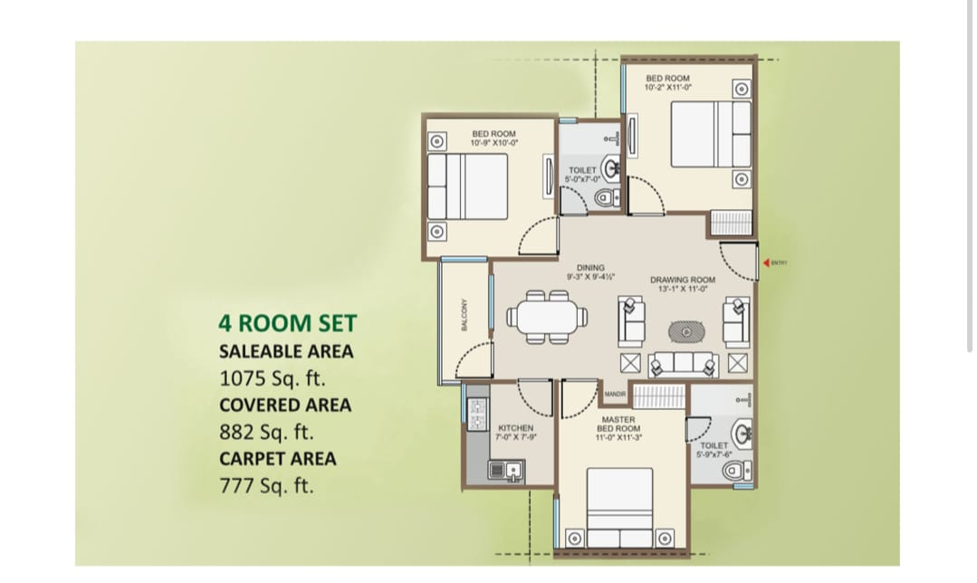NARMADA TOWER -3 BHK+2BT+1BALCONY+ 1DRAWING Room +1DINING Room