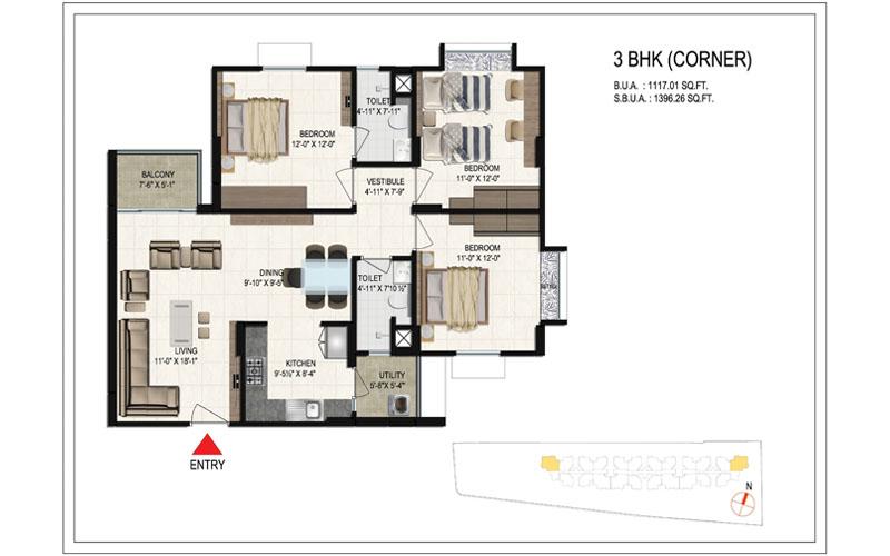 floor-plan-1396.26 SQ FT bellevista-3bhk-corner
