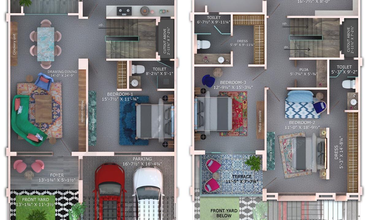 floor-plan-3BHK spring-villa-lavender-plan