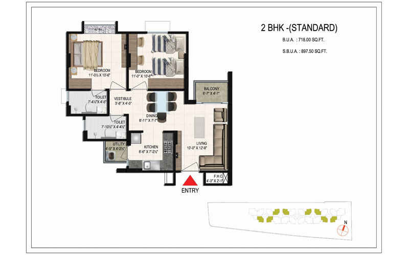 floor-plan-897.5 SQ.FT bellevista-2bhk-standard
